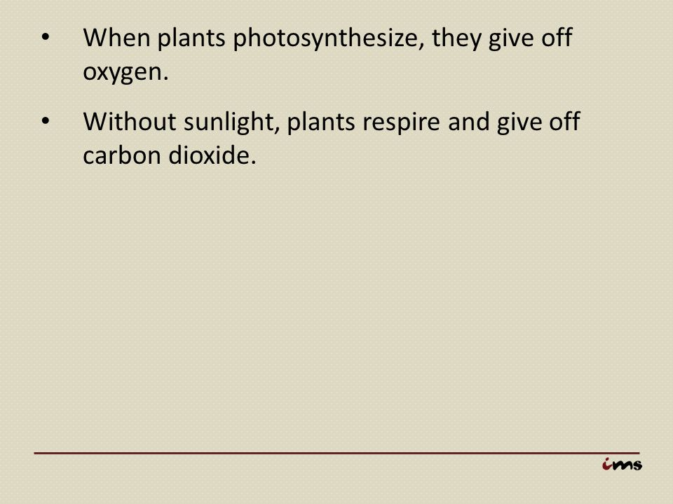 When plants photosynthesize, they give off oxygen.