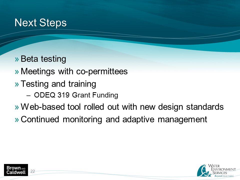 Next Steps Beta testing Meetings with co-permittees
