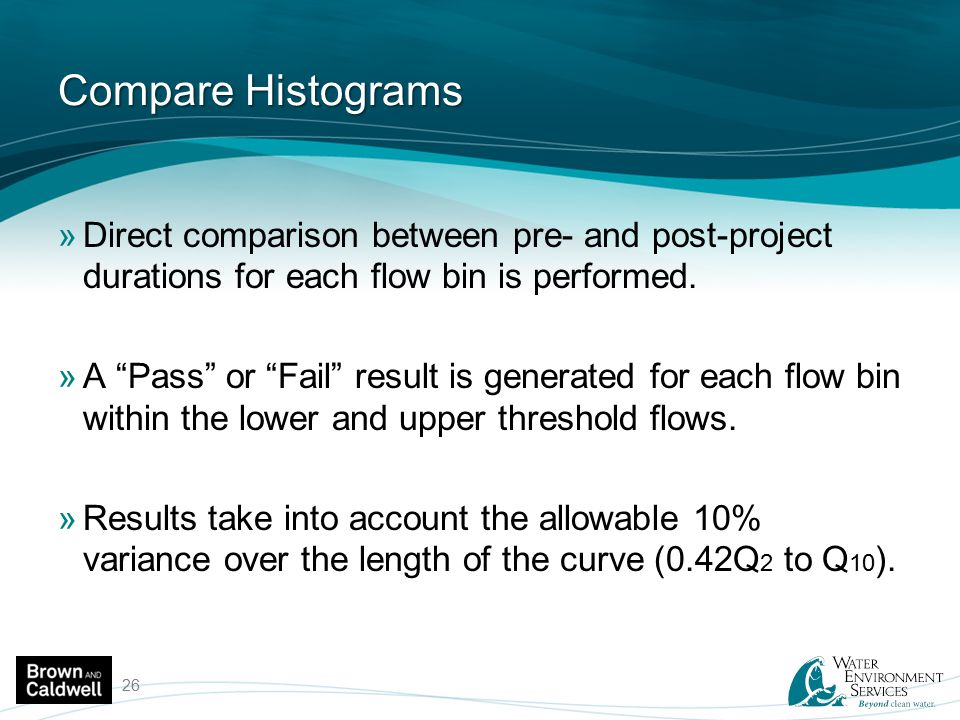 Compare Histograms Direct comparison between pre- and post-project durations for each flow bin is performed.