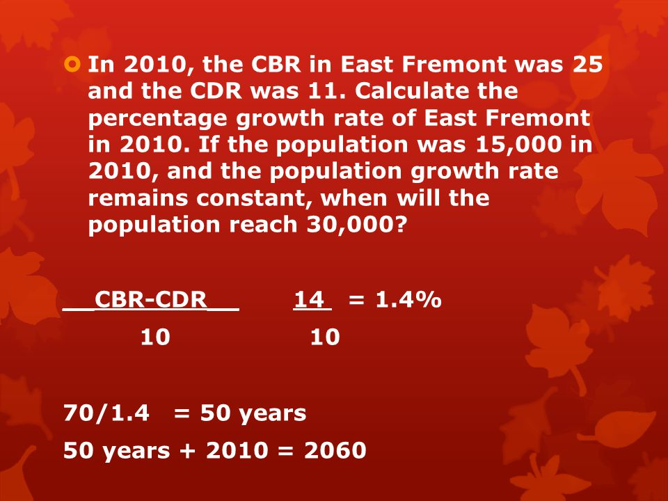 In 2010, the CBR in East Fremont was 25 and the CDR was 11