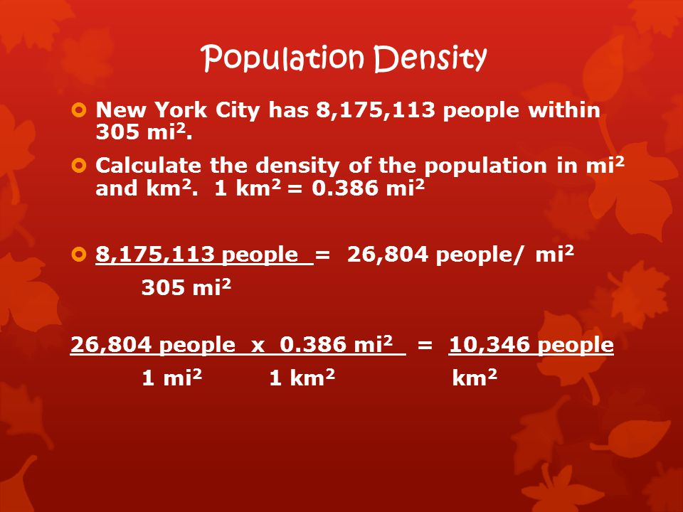 Population Density New York City has 8,175,113 people within 305 mi2.