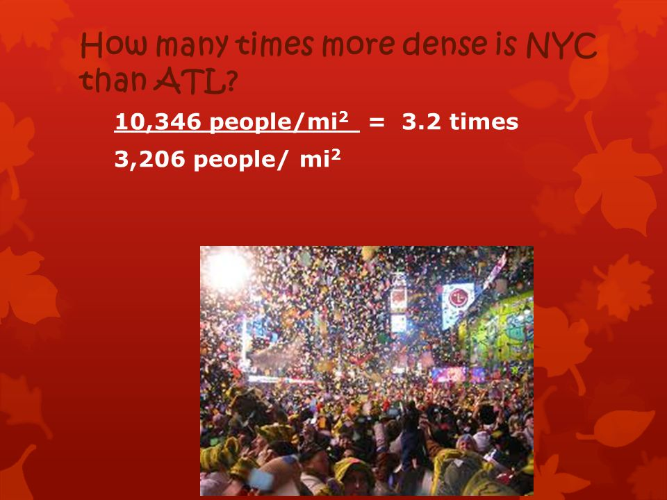 How many times more dense is NYC than ATL