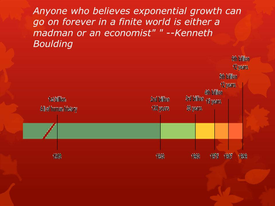 Anyone who believes exponential growth can go on forever in a finite world is either a madman or an economist --Kenneth Boulding