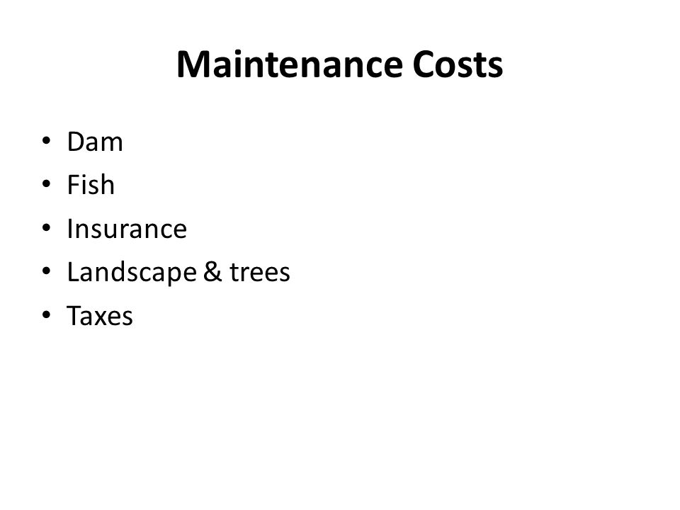 Maintenance Costs Dam Fish Insurance Landscape & trees Taxes