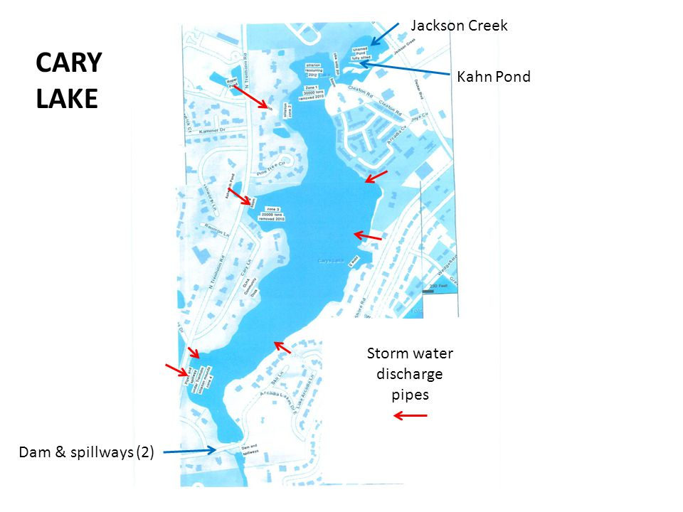 CARY LAKE Jackson Creek Kahn Pond Storm water discharge pipes