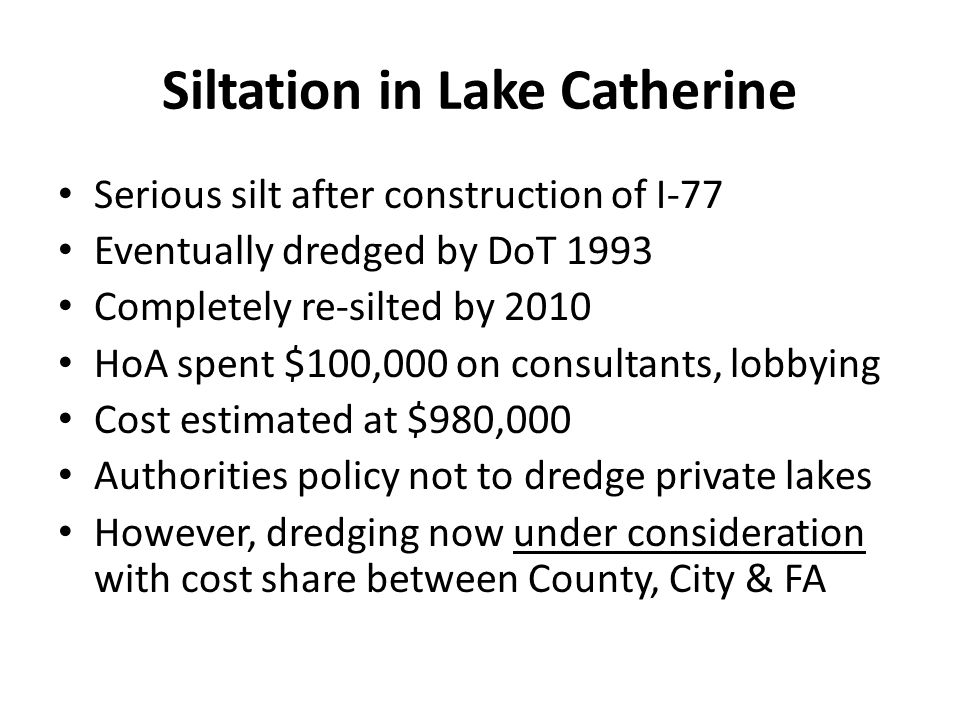 Siltation in Lake Catherine
