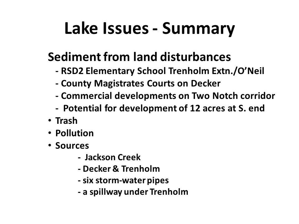 Lake Issues - Summary Sediment from land disturbances