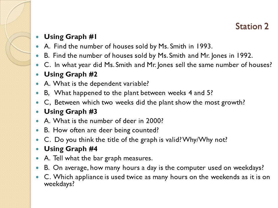 Station 2 Using Graph #1. A. Find the number of houses sold by Ms. Smith in 1993.