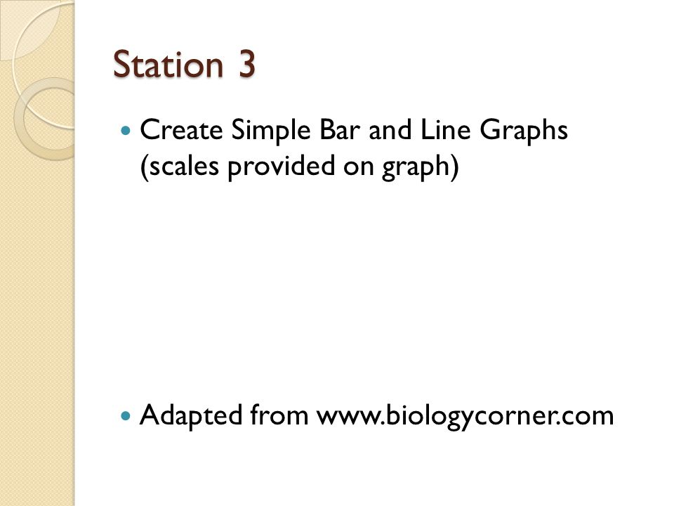Station 3 Create Simple Bar and Line Graphs (scales provided on graph)