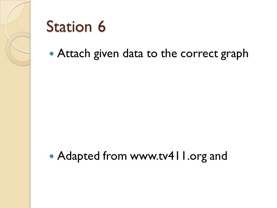 Station 6 Attach given data to the correct graph