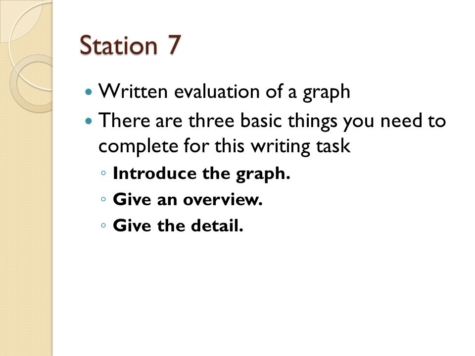 Station 7 Written evaluation of a graph