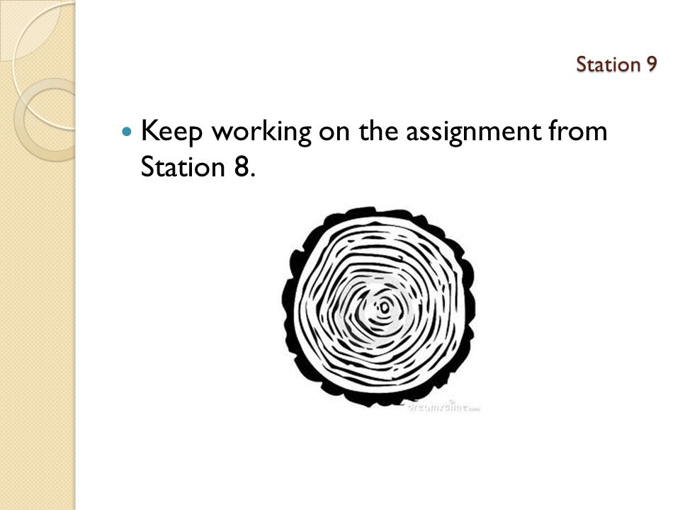 Keep working on the assignment from Station 8.
