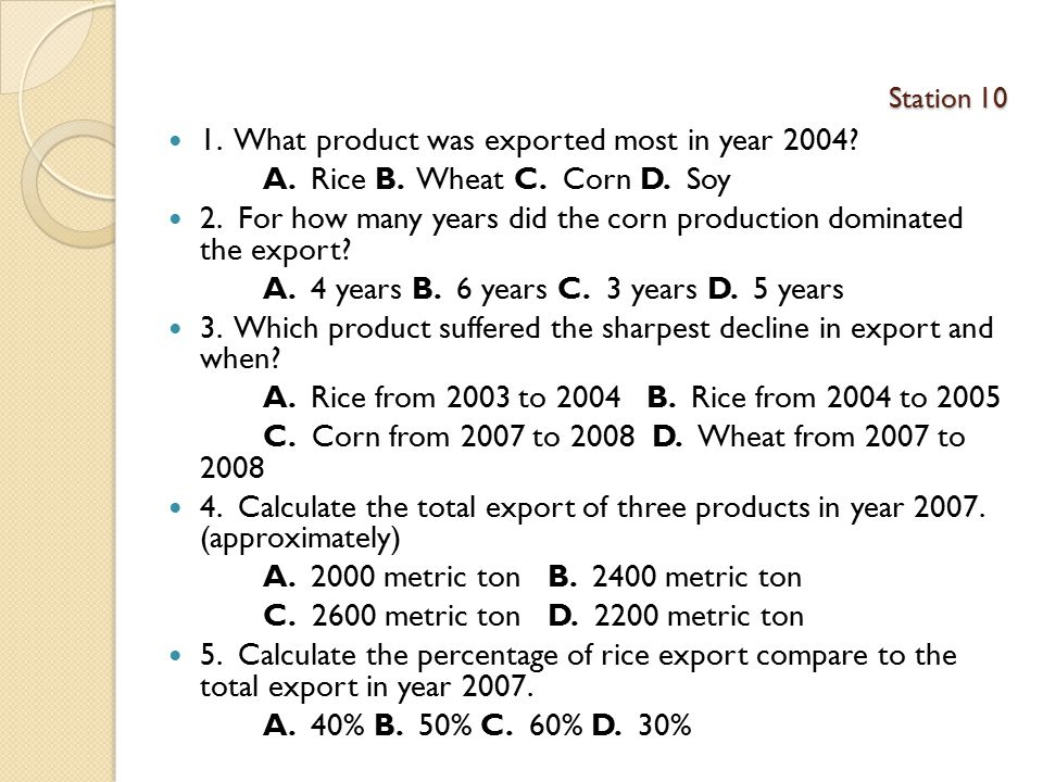1. What product was exported most in year 2004