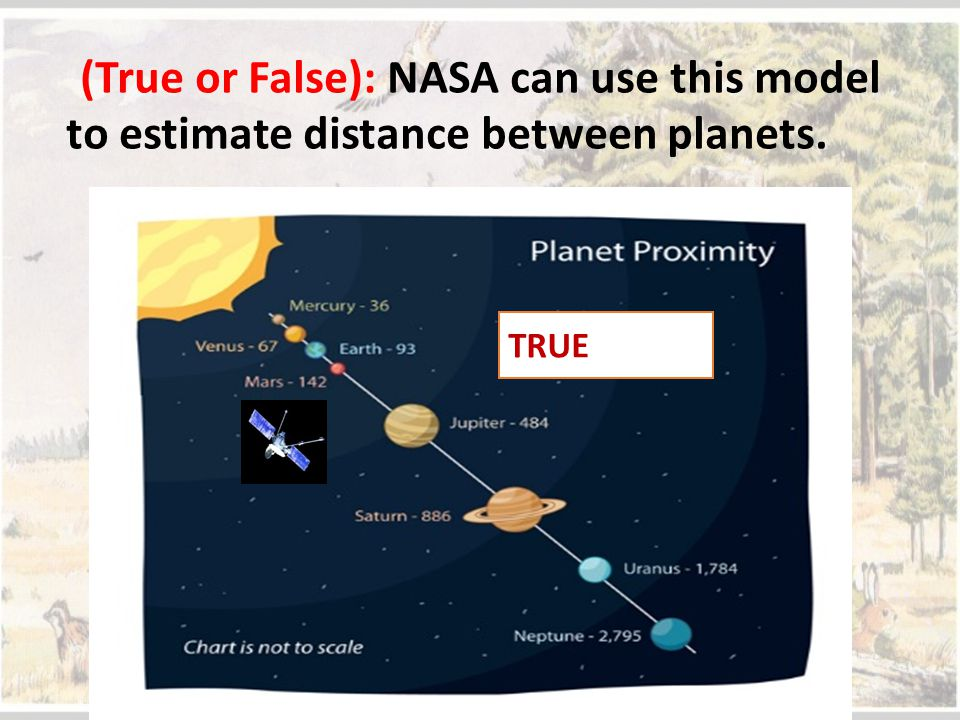 (True or False): NASA can use this model to estimate distance between planets.