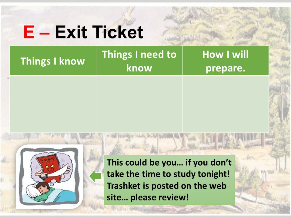 E – Exit Ticket Things I know Things I need to know