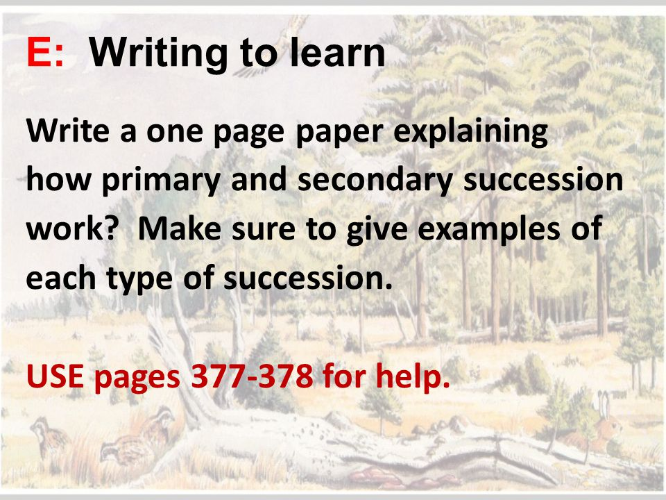 E: Writing to learn