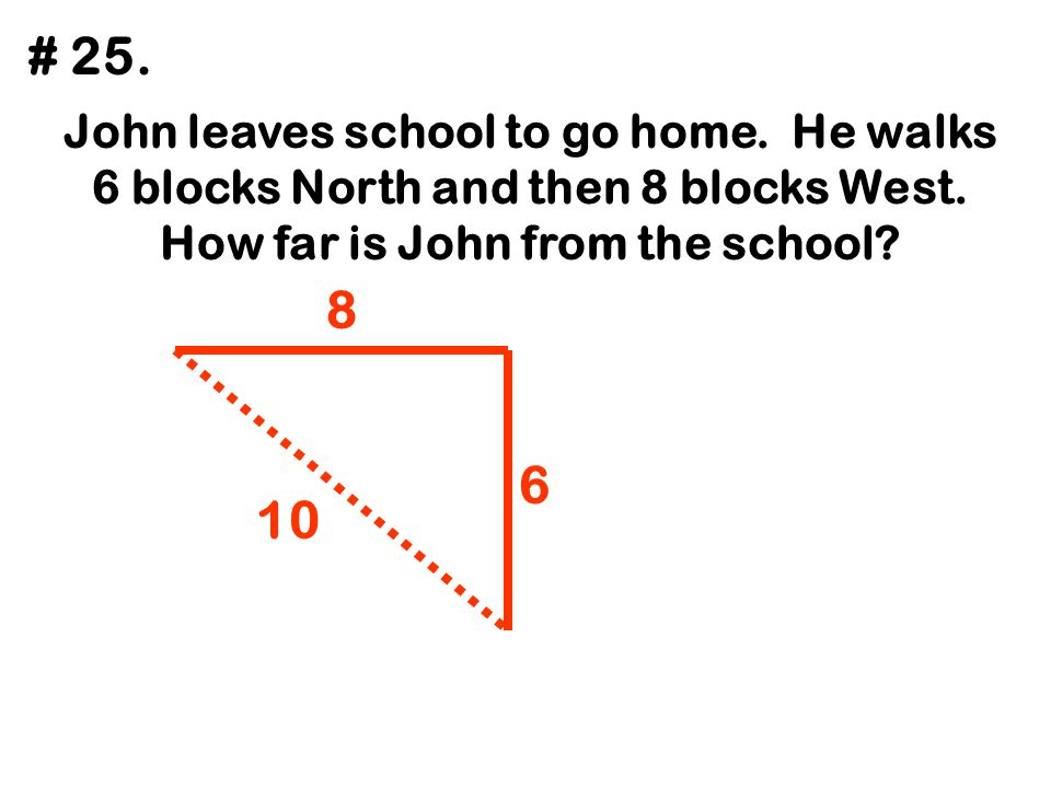 # 25. John leaves school to go home. He walks 6 blocks North and then 8 blocks West. How far is John from the school