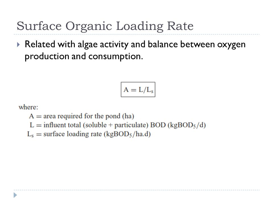 Surface Organic Loading Rate