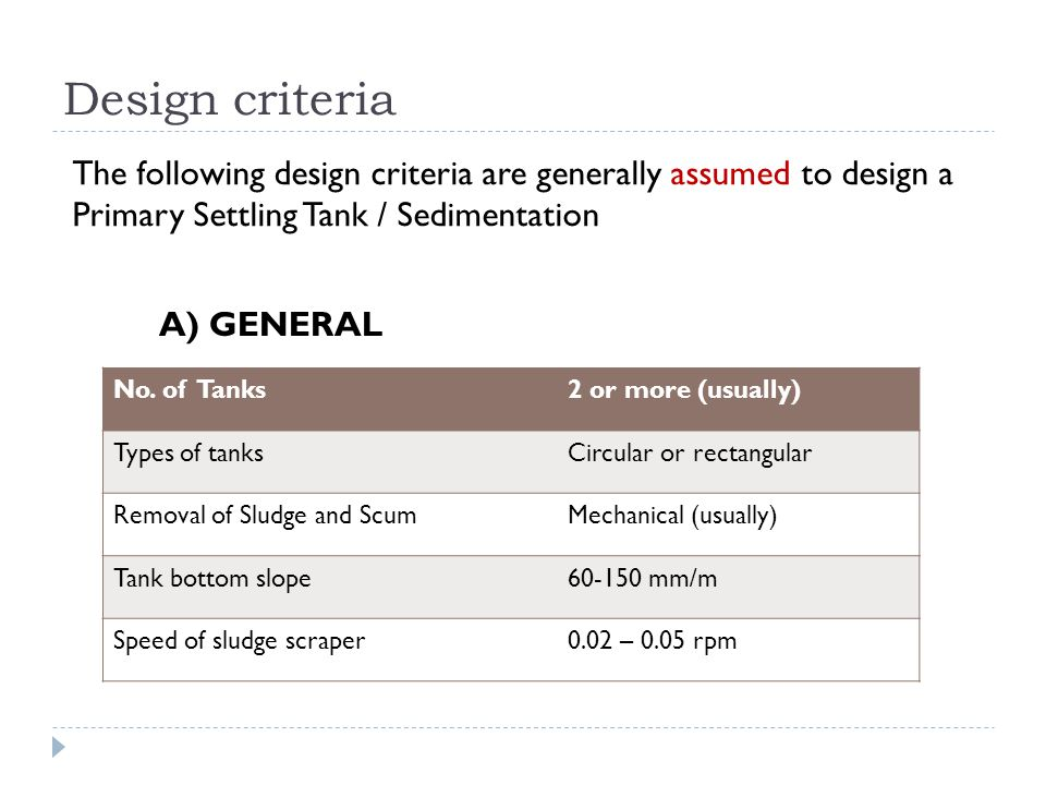 Design criteria The following design criteria are generally assumed to design a Primary Settling Tank / Sedimentation.