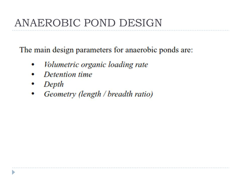 ANAEROBIC POND DESIGN