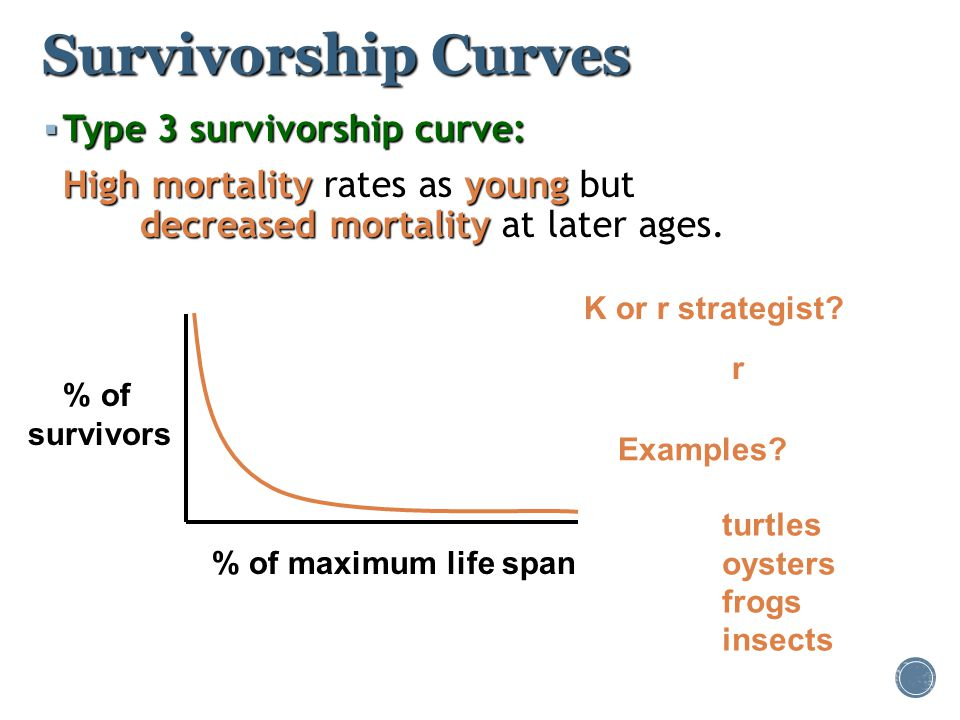Survivorship Curves Type 3 survivorship curve: