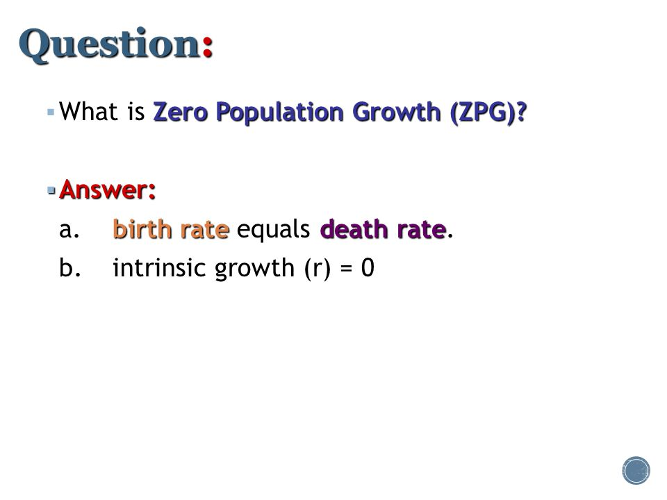 Question: What is Zero Population Growth (ZPG) Answer:
