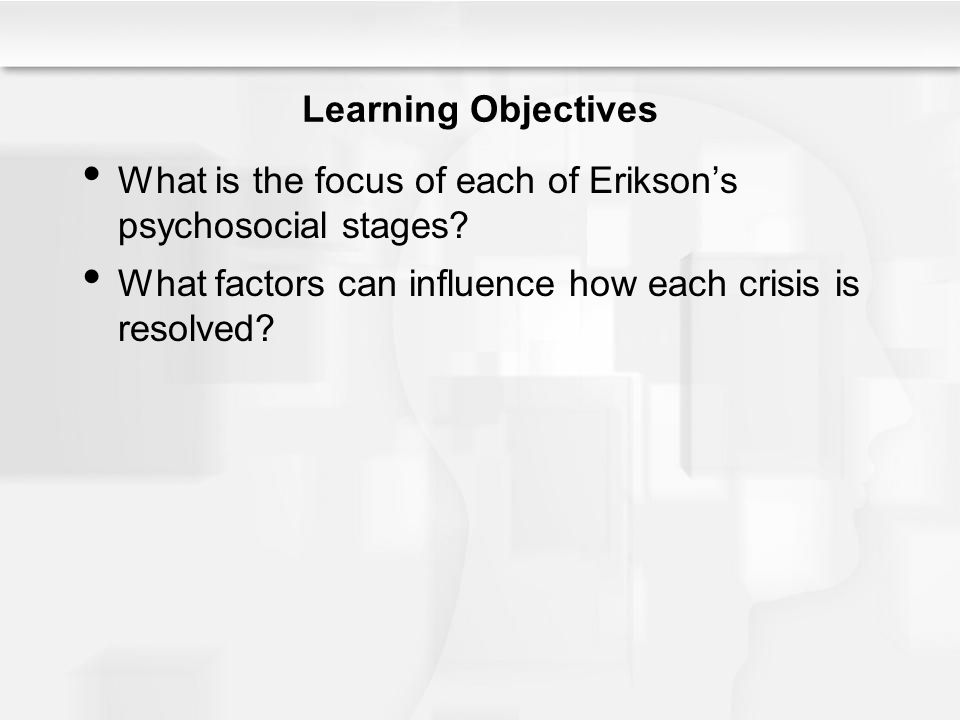 Learning Objectives What is the focus of each of Erikson's psychosocial stages.