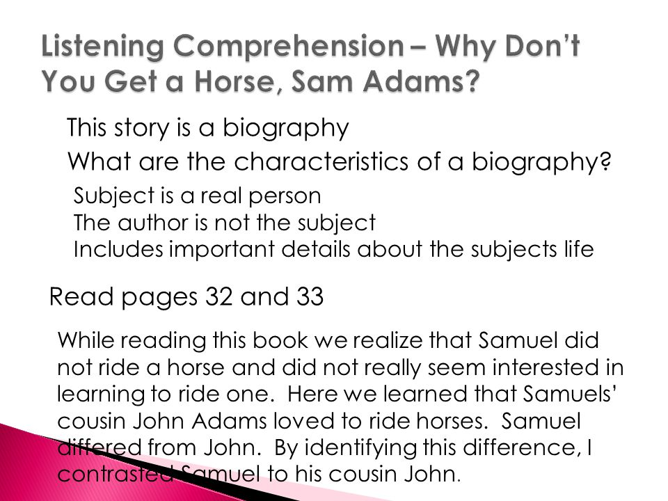 Listening Comprehension – Why Don't You Get a Horse, Sam Adams