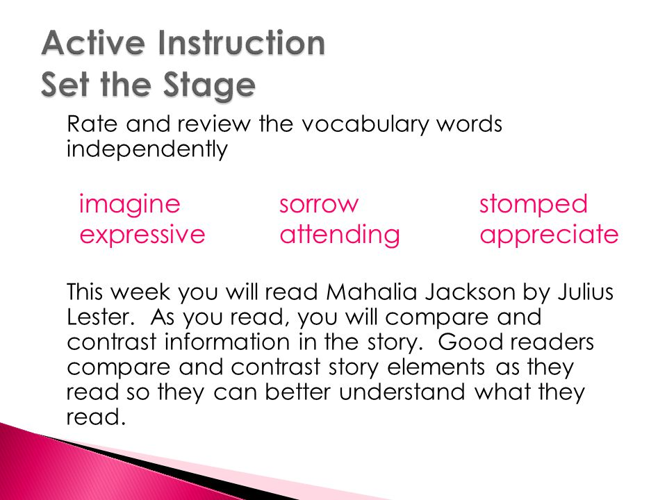 Active Instruction Set the Stage