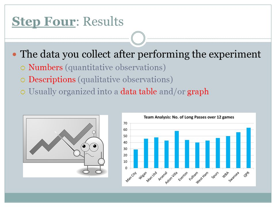 Step Four: Results The data you collect after performing the experiment. Numbers (quantitative observations)