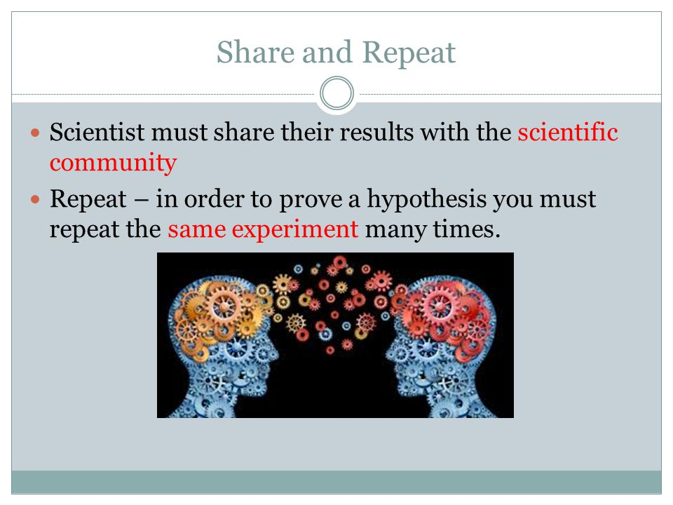 Share and Repeat Scientist must share their results with the scientific community.