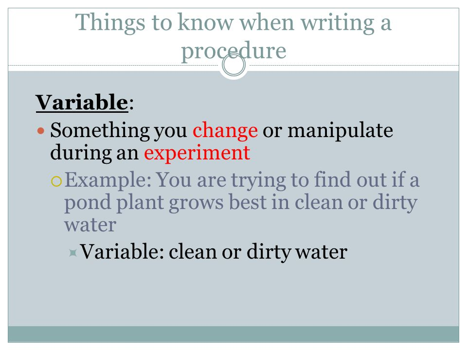 Things to know when writing a procedure