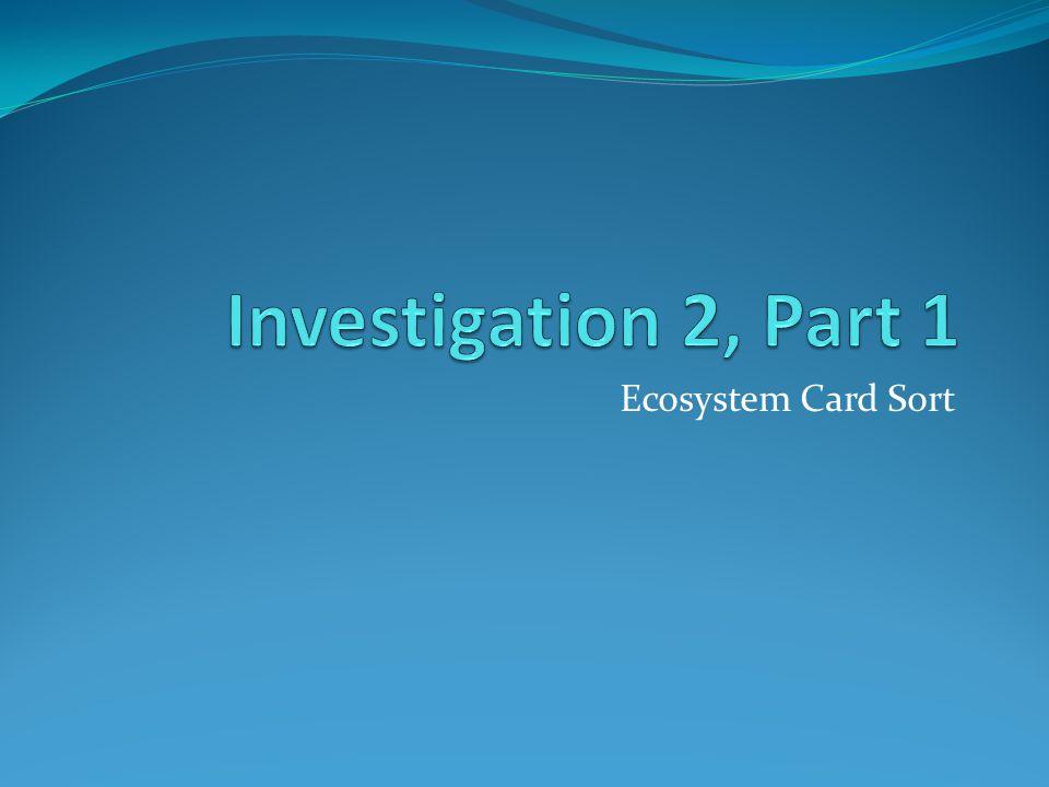 Investigation 2, Part 1 Ecosystem Card Sort