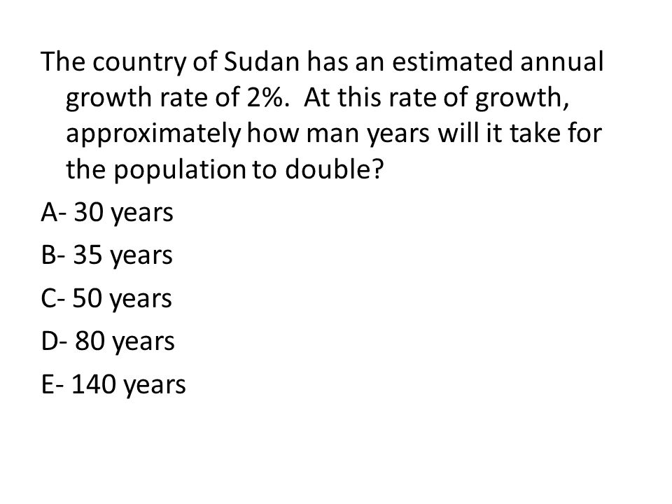 The country of Sudan has an estimated annual growth rate of 2%