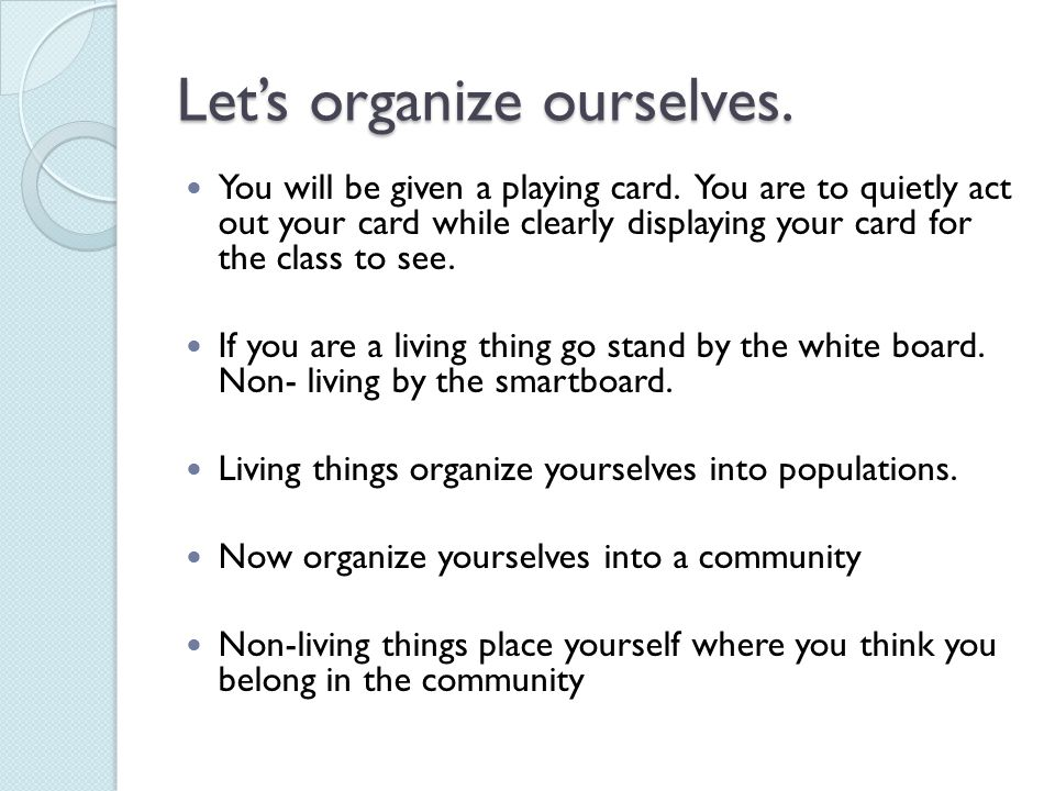 Let's organize ourselves.