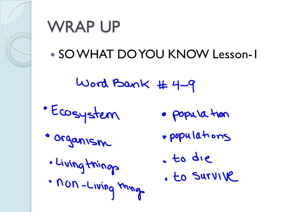 WRAP UP SO WHAT DO YOU KNOW Lesson-1