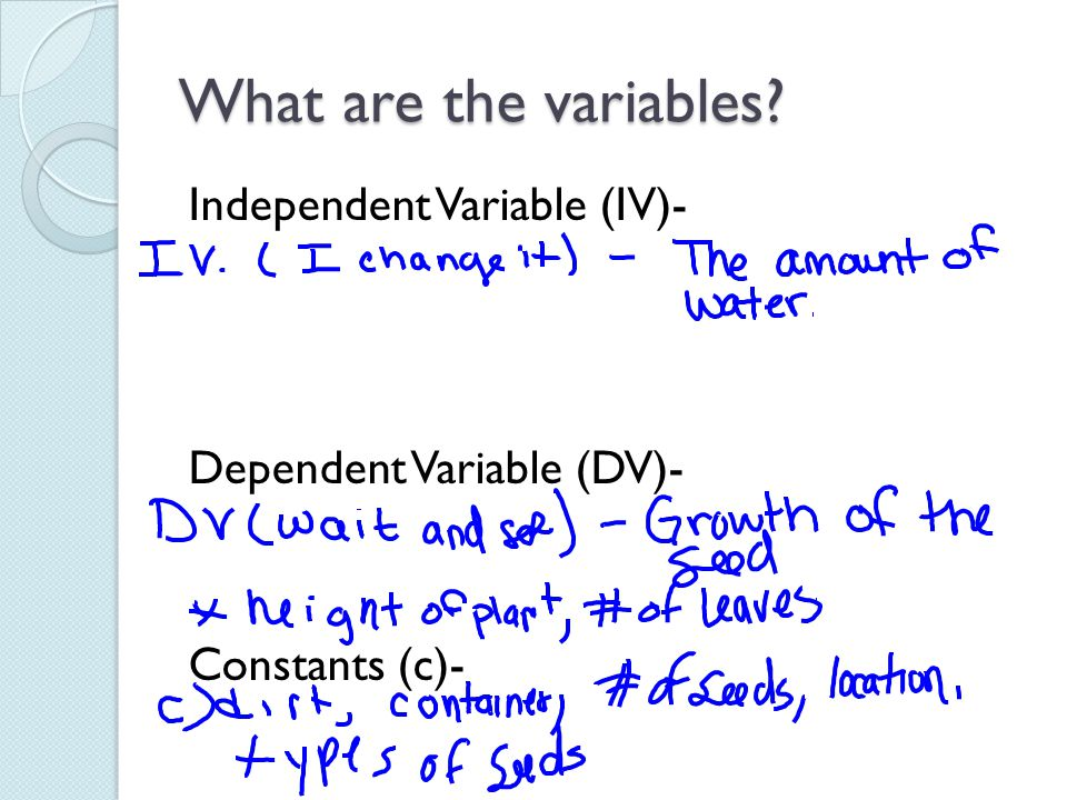 What are the variables Independent Variable (IV)- Dependent Variable (DV)- Constants (c)-