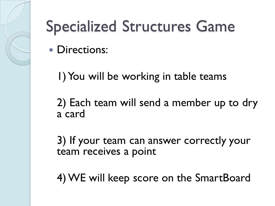 Specialized Structures Game
