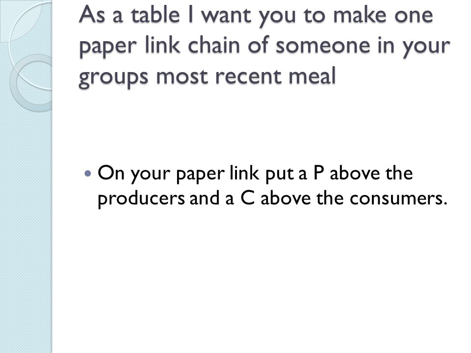 As a table I want you to make one paper link chain of someone in your groups most recent meal