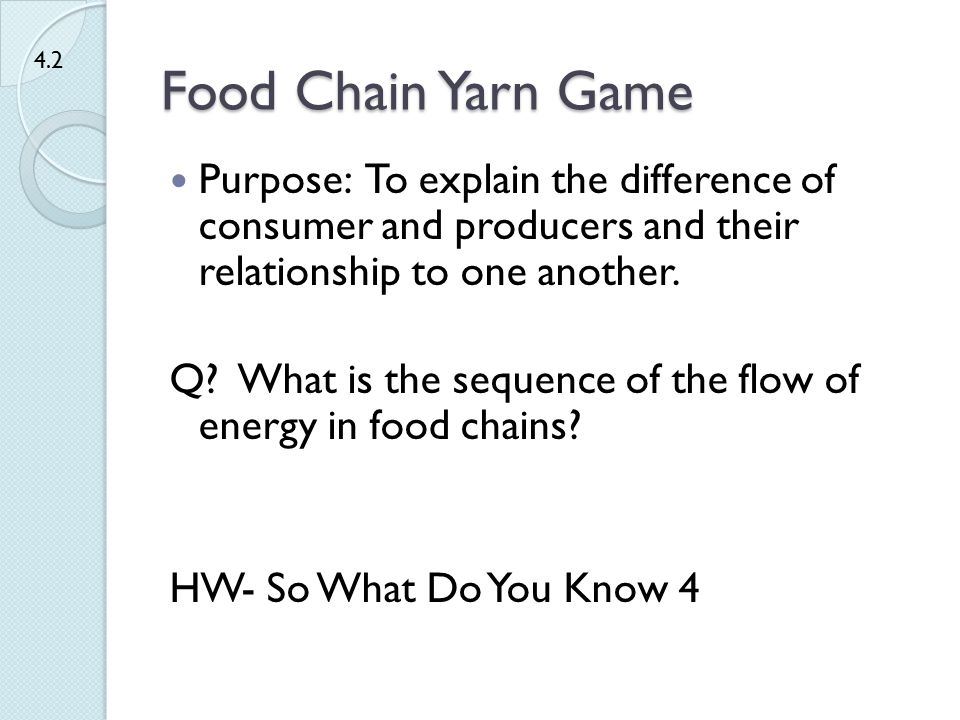 Food Chain Yarn Game 4.2. Purpose: To explain the difference of consumer and producers and their relationship to one another.