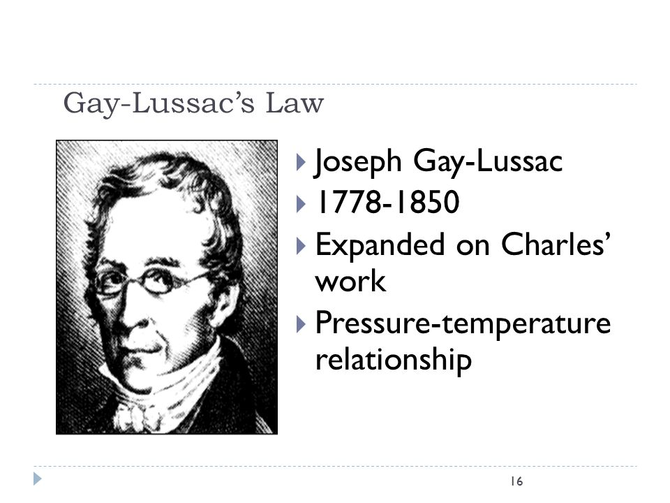 Expanded on Charles' work Pressure-temperature relationship