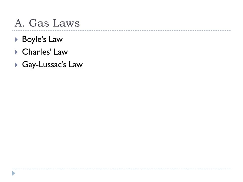 A. Gas Laws Boyle's Law Charles' Law Gay-Lussac's Law