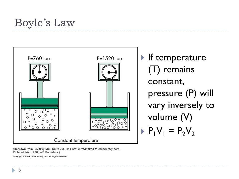 Boyle's Law If temperature (T) remains constant, pressure (P) will vary inversely to volume (V)
