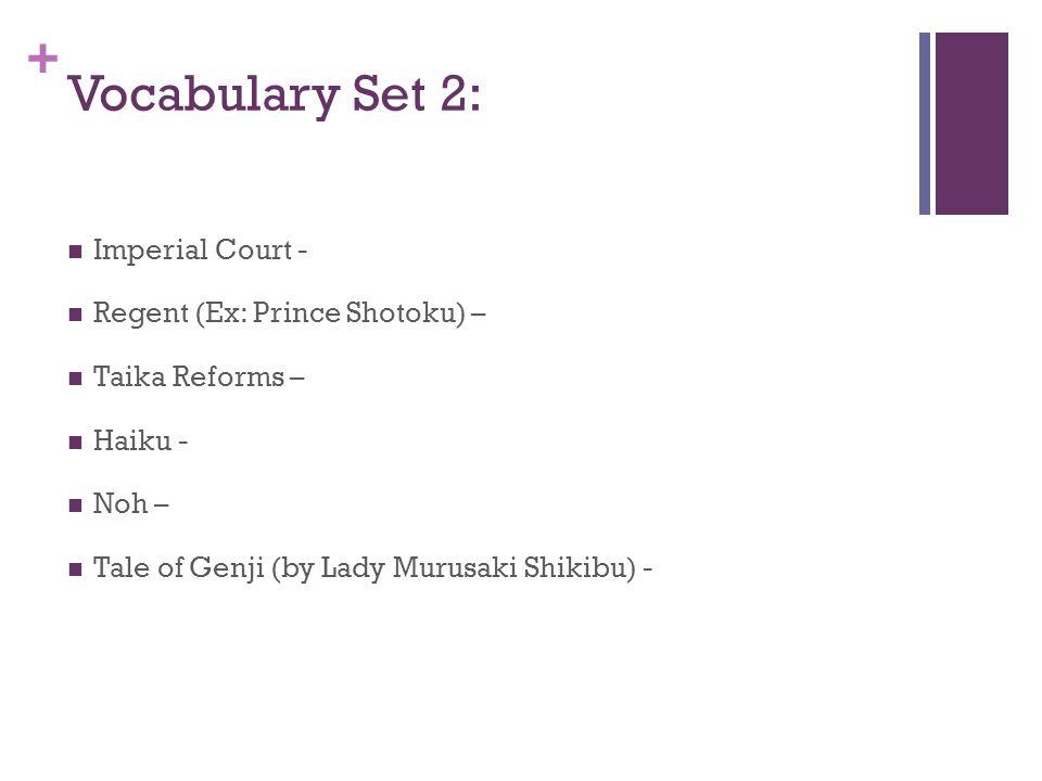Vocabulary Set 2: Imperial Court - Regent (Ex: Prince Shotoku) –
