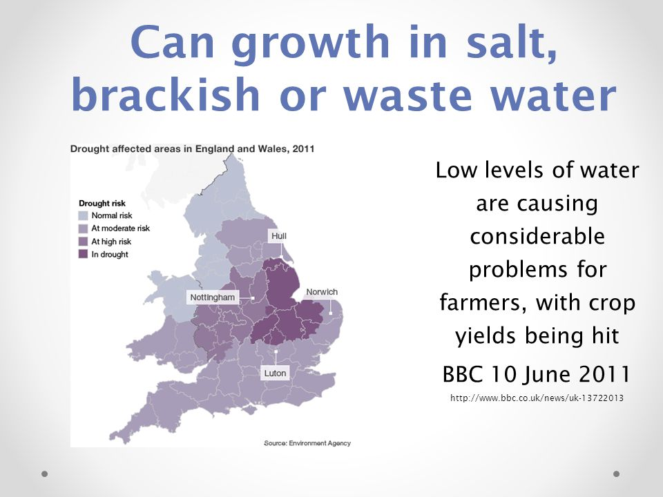 Can growth in salt, brackish or waste water