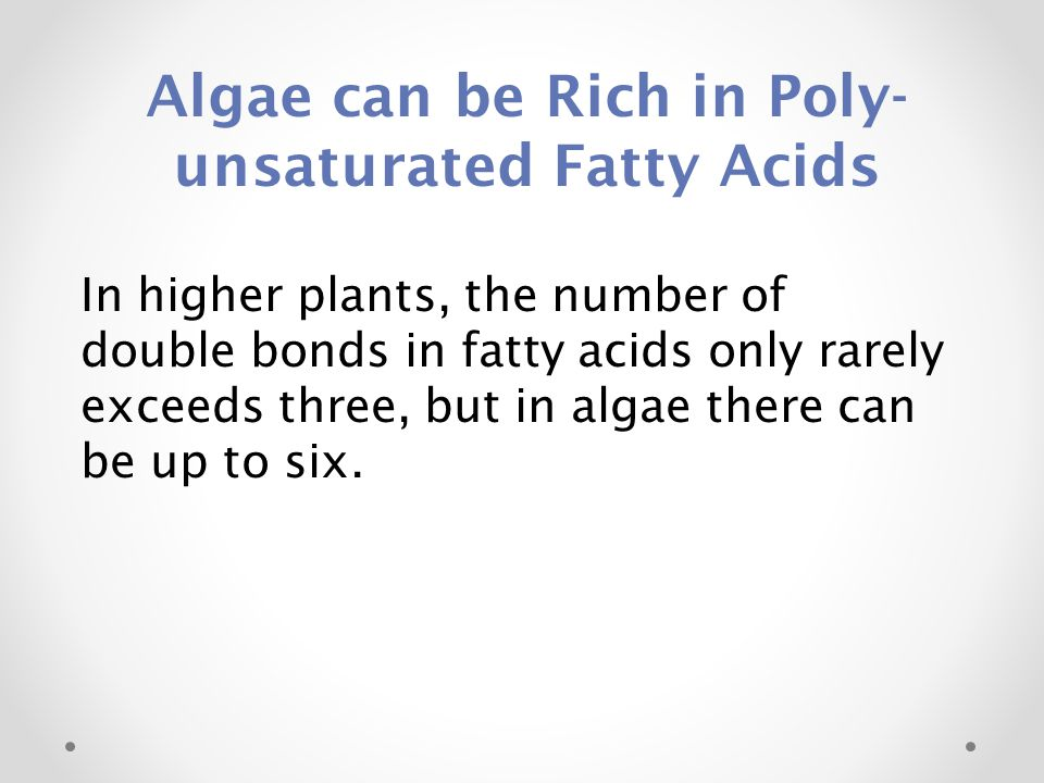 Algae can be Rich in Poly-unsaturated Fatty Acids