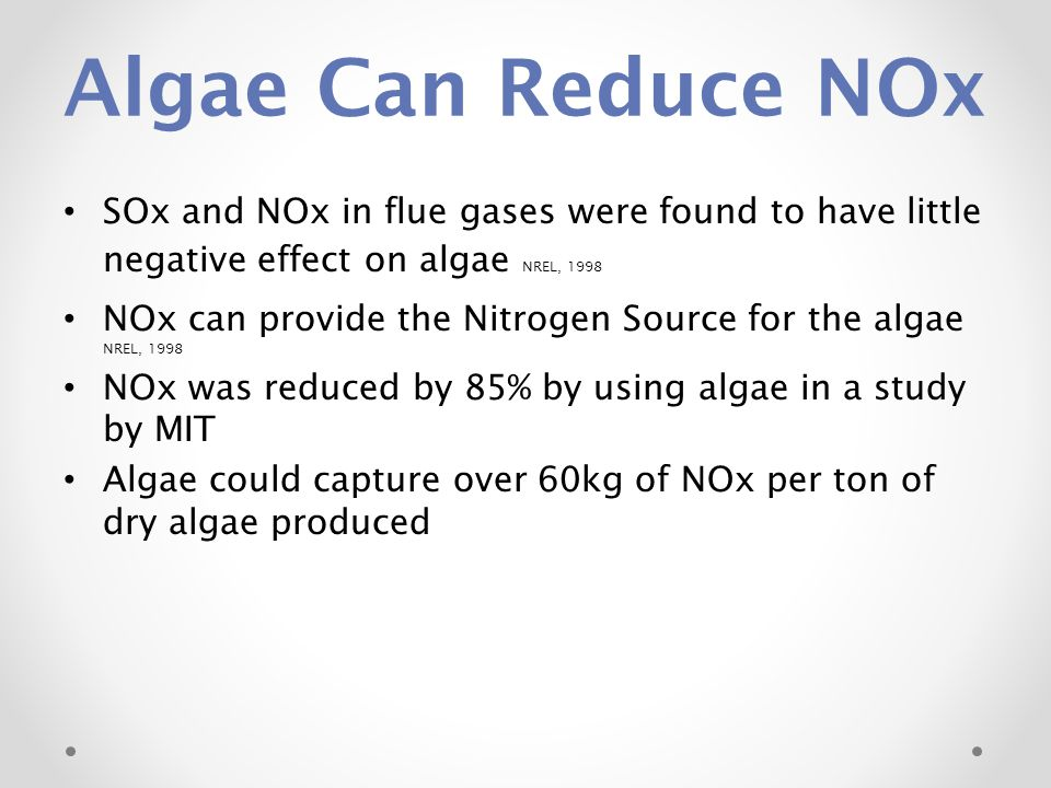 Algae Can Reduce NOx SOx and NOx in flue gases were found to have little negative effect on algae NREL, 1998.