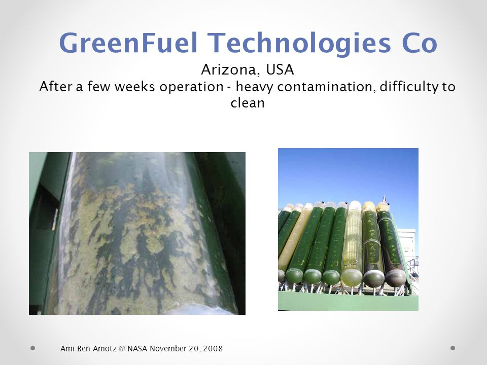 GreenFuel Technologies Co Arizona, USA After a few weeks operation - heavy contamination, difficulty to clean