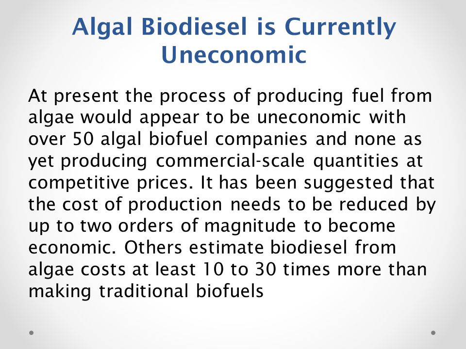 Algal Biodiesel is Currently Uneconomic