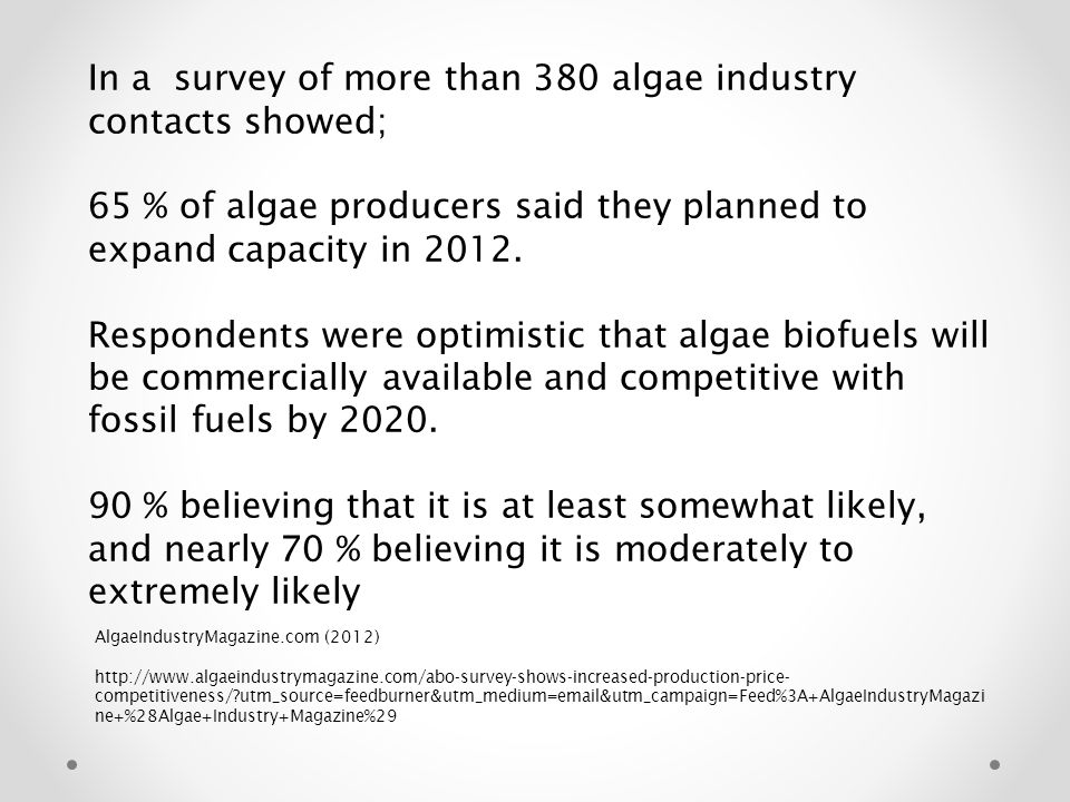 In a survey of more than 380 algae industry contacts showed;